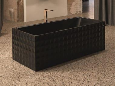 Freestanding rectangular steel bathtub BETTELOFT ORNAMENT MIDNIGHT | Bathtub