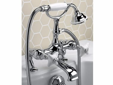 Bathtub tap with hand shower WHITE ROSE | Bathtub tap
