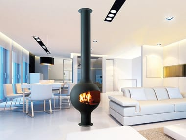 Gas central fireplace with remote control BATHYSCAFOCUS SUR PIED