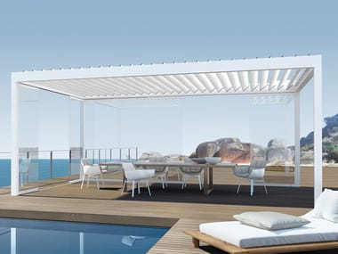 Extruded aluminium pergola with adjustable louvers BAVONA Hardtop