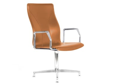 Cuoietto leather training chair with 4-spoke base BB641.5 | Chair