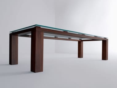 Rectangular wood and glass table BD01 A