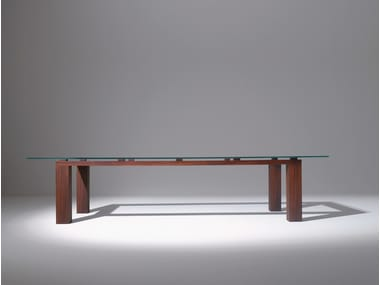 Rectangular wood and glass table BD01