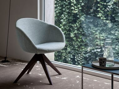 Trestle-based fabric easy chair with armrests BEA | Trestle-based easy chair