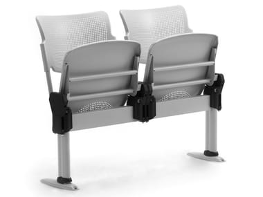 Freestanding steel and polypropylene beam seating LAMIA | Beam seating with tip-up seats