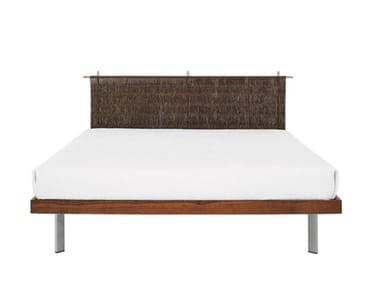 Stainless steel and wood double bed EDWARD | Bed