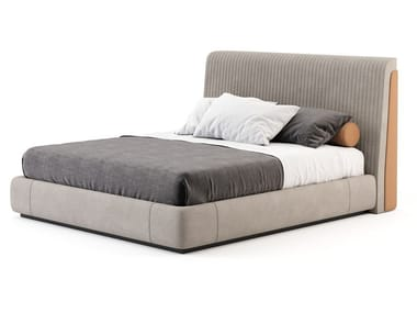 Microfiber double bed with upholstered headboard HIS | Bed
