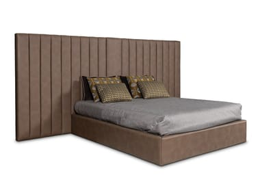 Eco-leather double bed with upholstered headboard MILAN | Bed