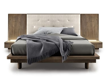 Bed with integrated nightstands with tufted headboard SURFACE | Bed with integrated lighting
