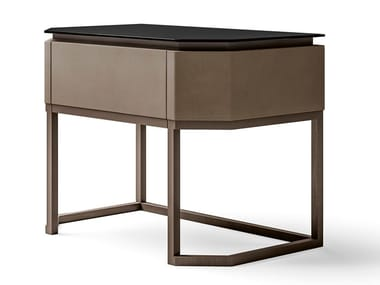 Rectangular leather, glass and metal bedside table STARLIGHT | Bedside table