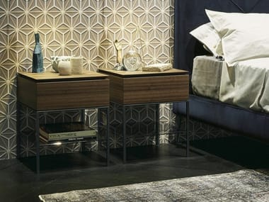 Rectangular wooden bedside table with drawers ARES | Bedside table