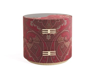 Round fabric bedside table with drawers SHARP | Bedside table