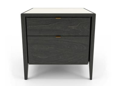 Birch bedside table with drawers WINSTON | Bedside table