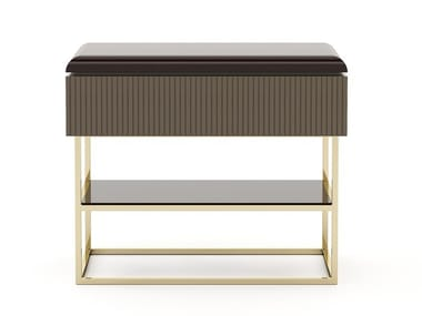 Lacquered rectangular wooden bedside table HER | Bedside table