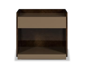 Lacquered wood veneer bedside table with drawers MILOS | Bedside table