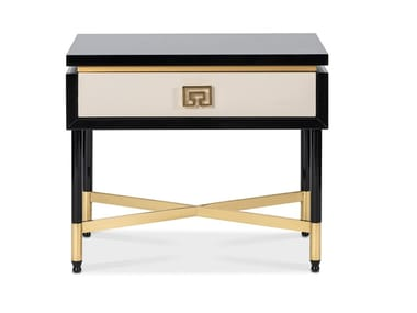 Lacquered rectangular wooden bedside table with drawers SUBLIME | Bedside table