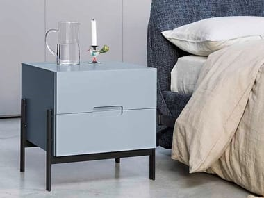 Lacquered bedside table with drawers FLOAT | Bedside table