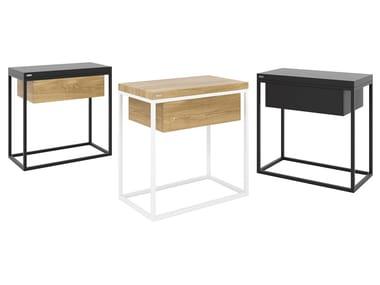 Mesa de centro / mesa-de-cabeceira em aço e madeira MOONLIGHT | Mesa-de-cabeceira
