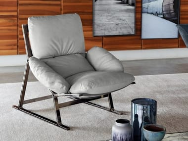 Sled base leather armchair BELAIR | Leather armchair