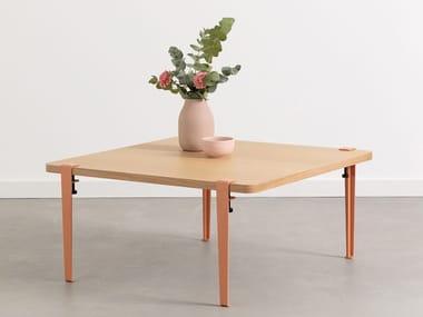 Tavolino basso quadrato in acciaio e legno BELEM