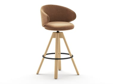 Swivel trestle-based fabric stool BELLE | Swivel stool