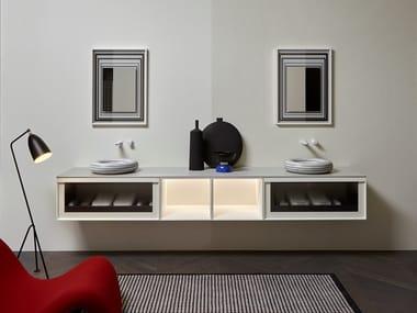 Mobile lavabo doppio sospeso con cassetti BEMADE | Mobile lavabo doppio