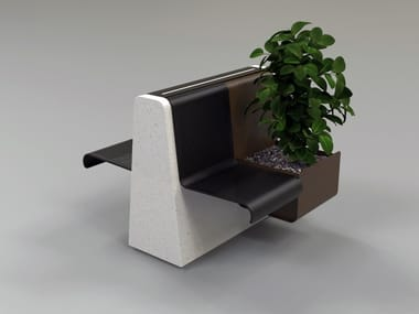 Reconstructed stone Bench with Integrated Planter CLING | Bench with Integrated Planter