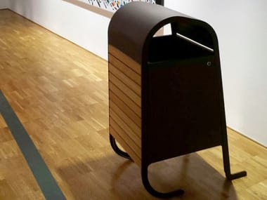 Steel and wood litter bin BEND | Litter bin