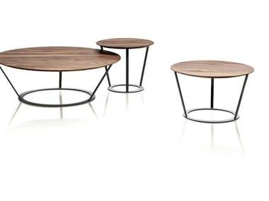 Mesa de centro baixa redonda de madeira BEND