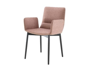 Upholstered fabric chair with removable cover with armrests BENDCHAIR | Chair with armrests