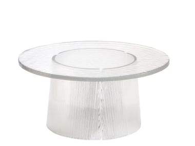 Low round glass coffee table BENT | Low coffee table