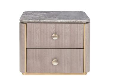 Comodino rettangolare in legno con cassetti BERNA | Comodino