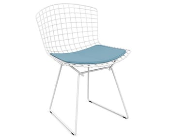 Sled base steel garden chair with integrated cushion BERTOIA OUTDOOR | Chair