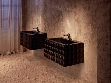 Rectangular wall-mounted enamelled steel washbasin BETTELOFT ORNAMENT | Rectangular washbasin
