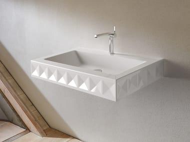 Rectangular wall-mounted enamelled steel washbasin BETTELOFT ORNAMENT | Washbasin