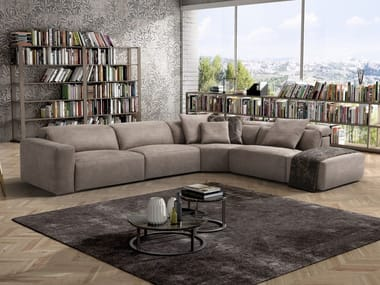 Corner microfiber sofa with electric motion BEVERLY | Corner sofa