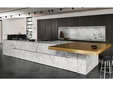 Custom kitchen with island BIANCO NUVOLA
