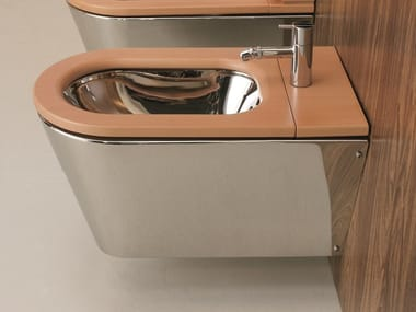 Wall-hung stainless steel and wood bidet JOHN & MARY | Bidet