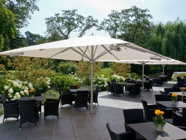 Square Garden umbrella with built-in lights with integrated heating BIG BEN | Square Garden umbrella