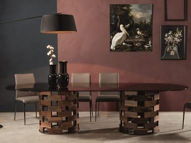 Tavolo in marmo Nero Marquina con base in noce massello BIG COLOSSEO
