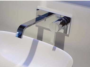 Wall-mounted washbasin mixer with plate BIKAPPA | Wall-mounted washbasin mixer