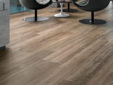 Antibacterial porcelain stoneware flooring with wood effect BIO LUMBER LODGE BROWN