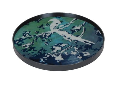 Round wood and glass tray BIRDS OF PARADISE