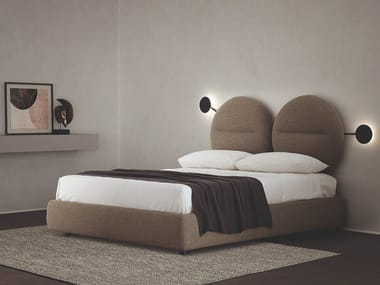 Fabric double bed with upholstered headboard BISHAPE | Double bed