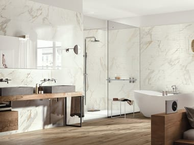 Porcelain stoneware wall tiles with marble effect BISTROT | Wall tiles