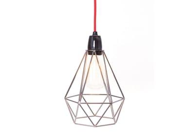 Lampada a sospensione / lampada da tavolo in metallo BLACK PEARL CAGE RED CABLE