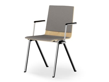 Chair with armrests with integrated cushion BLAQ WOOD | Chair with armrests