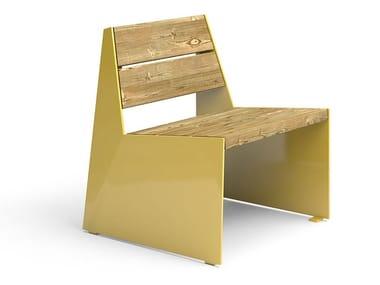 Seduta da esterni in acciaio e legno BLOC CHAIR   Seduta da esterni