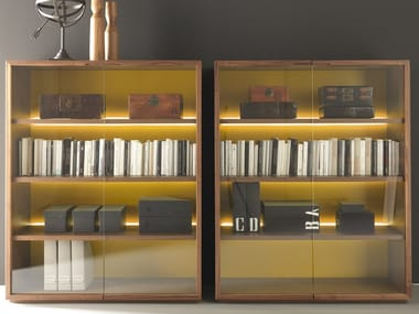 Wood and glass bookcase / display cabinet BLOCK