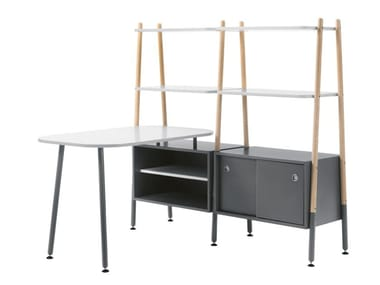 Lacquered office desk with shelves BLOG | Office desk with shelves
